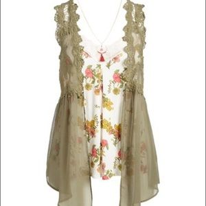Sheer Ivory Lace Vest Size XL Country Glam